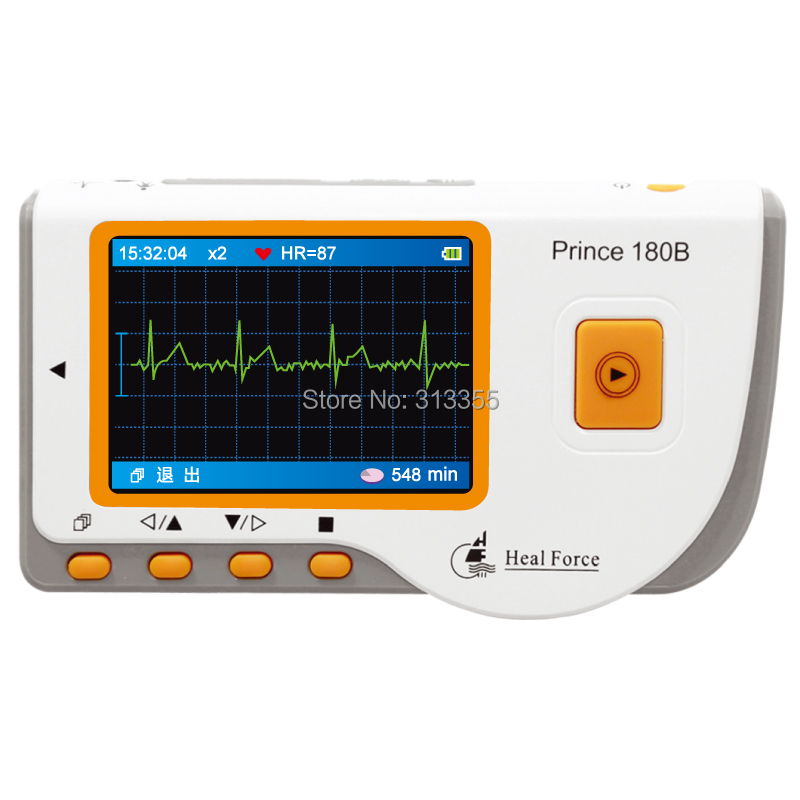 fast easy  mini ECG s prince 180B colour lcd  EKG HOME Easy Handheld ECG  Software+USB+3 lead wire+CE FDA electrode consumbles