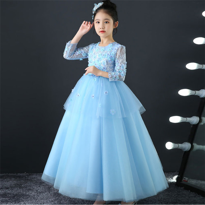 Spring Summer Children Girls Elegant Flowers Birthday Wedding Party Blue Long Dress Kids Baby Evening Party Host Pageant Dress