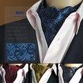 SHENNAIWEI Gold Paisley Floral Silk Ascot Cravat Jacquard Ties Woven Party Shirt Dress