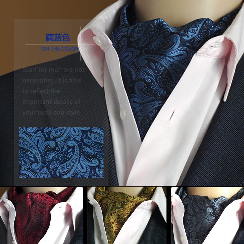 SHENNAIWEI Gold Paisley Floral Silk Men Blue Ascot Cravat Jacquard Ties Woven Party Shirt Elegant Dress Lote