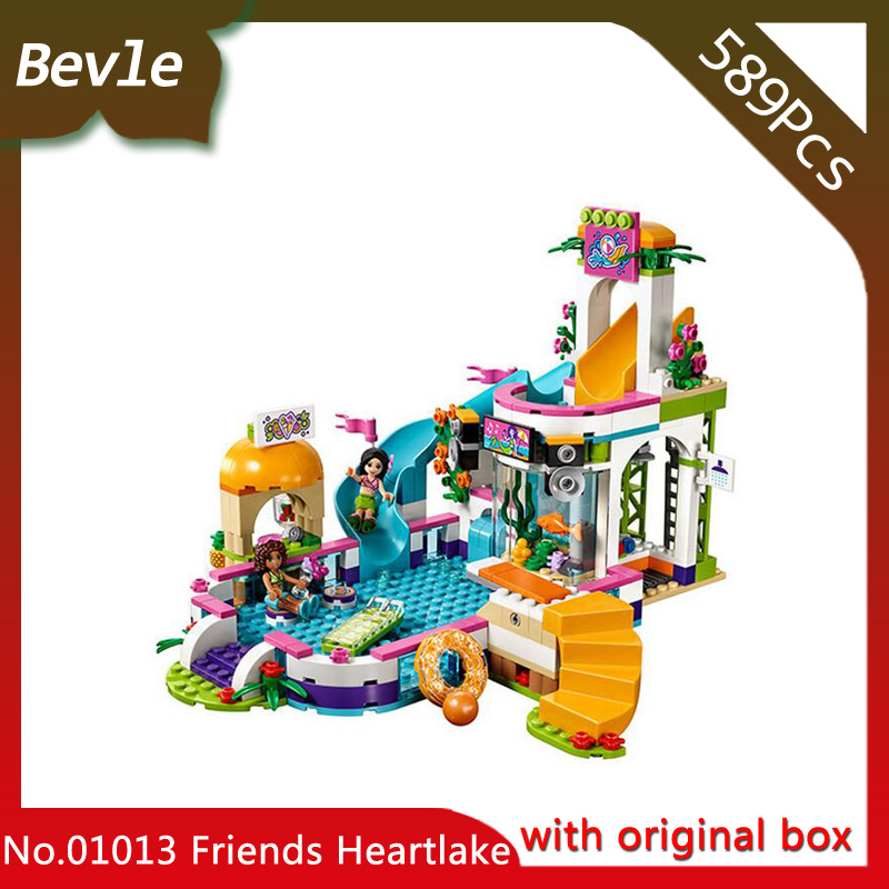 01013 Building Blocks Compatible Legoes Friends Summer swimming pool 41313 Model 589pcs Educational Toys for Children lepin building blocks model 01013 compatible legoing friends summer swimming pool 41313 educational toys for children