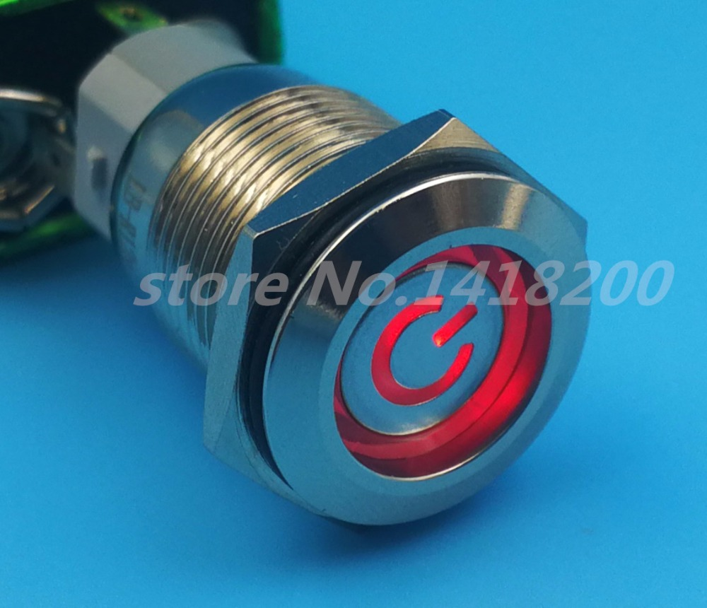 Free shipping 1Pcs Metal Stainless Steel Red LED Power Push Button Self-locking Switch 5Pin 16mm LED Red Light On/Off automobile button switch off on self locking white light silver 12v