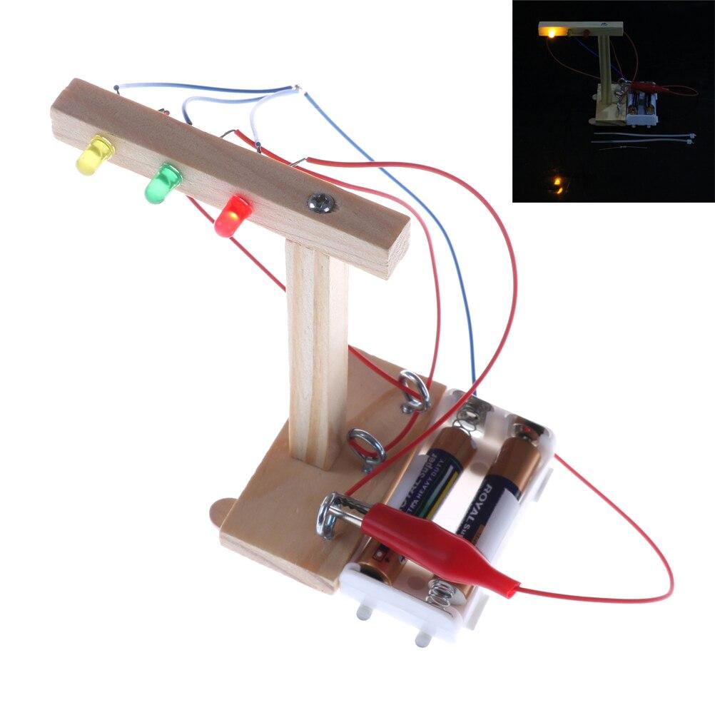 DIY Mini Model Educational Baby Kids Handmake Assembled Science Technology Experiment Children Traffic Lights Gifts