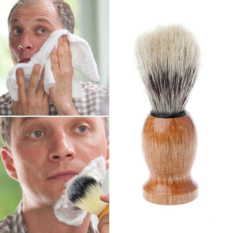 New Men's Shaving Brush Barber Salon Men Facial Mustache Beard Cleaning Appliance Shave Tool with Wood Handle for men 11X3CM