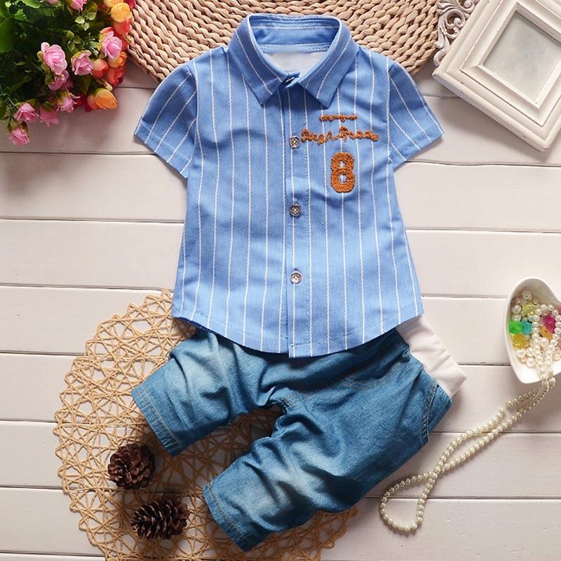 Summer Boys Short Sleeve Shirt + Pants Set Infant Children's Clothing Stripe Shirt Jeans Short Trousers Suit Z213 M09
