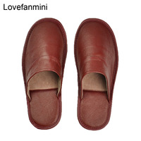 Genuine Cow Leather slippers couple indoor  non-slip men and women home fashion casual single shoes PVC soft soles spring autumn 3