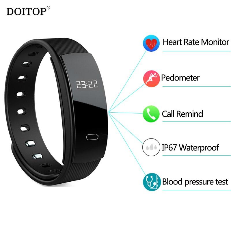 Doitop смарт-браслет Приборы для измерения артериального давления сердечного ритма Мониторы SmartBand Фитнес трекер Спорта Шагомер вызов оповеще... ...