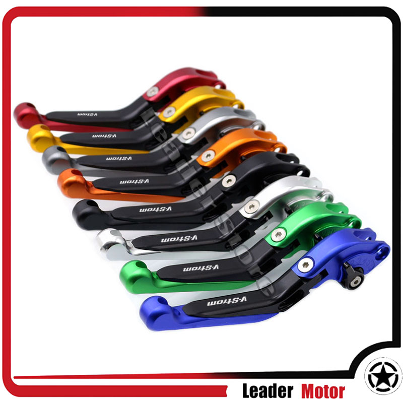 For SUZUKI DL 650 DL650 V-Strom 2004-2010 Motorcycle Accessories Folding Extendable Brake Clutch Levers LOGO V-Strom 20 Colors adjustable short straight clutch brake levers for suzuki gsx 650 f gsf 650 bandit n s dl 1000 v strom 2002 2015
