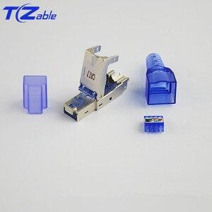 Image 5 - RJ45 Cat7 konektörü 10Gbps Ethernet kalkanı ağ fiş sıkma RJ45 yeniden kullanılabilir Ethernet kablosu Cat6 adaptörü kristal konektörler