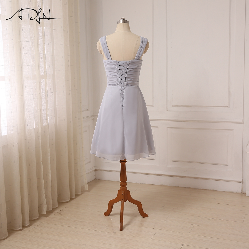 Cap Sleeve Chiffon Lace Up Back Knee Length Short Bridesmaid Dress