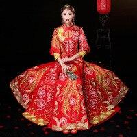 Fashion Red Gold Women Phoenix Embroidery Cheongsam Long Qipao Chinese Traditional Wedding Dress Oriental Style Dresses