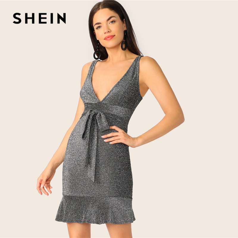 Women's Clothing Amicable Shein Sexy Grey Plunging Neck Belted Pep Hem Glitter Bodycon Summer Party Cami Dress Women Flounce Hem Glamorous Club Dresses