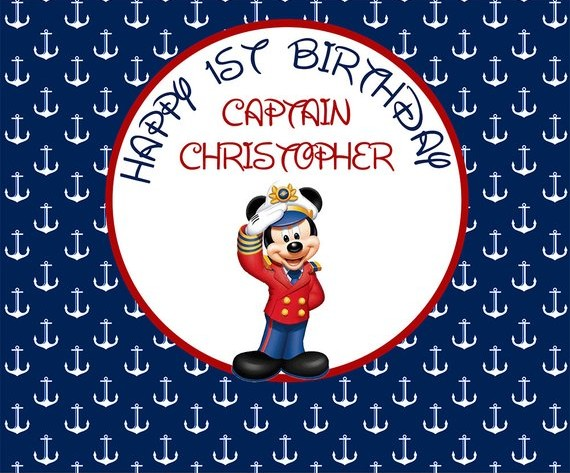 custom Nautical Anchor Mickey Mouse Birthday Captain Sailor Baby Shower background  Computer print party backdrops