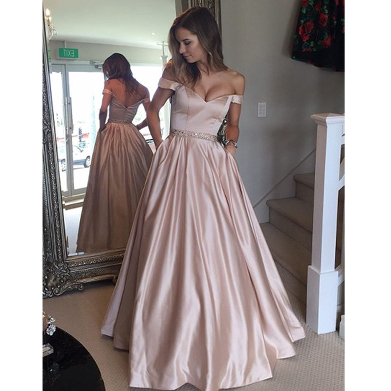 elegant evening dress long Women's Real Photos Blush Colored Satin A Line Prom Dress Sexy cap sleeve formal dress Vestido-in Evening Dresses from Weddings & Events    1