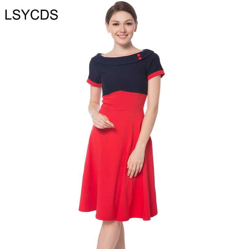 LSYCDS Lady 50s 60s Vintage Dress Slash Neck Patchwork Big Swing Rockabilly Pinup Ball Gown Party Dress Robe Women Summer Dress