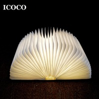 ICOCO LED Night Light Folding Book Light USB Port Rechargeable Desk Lamp Booklight For Home Decor