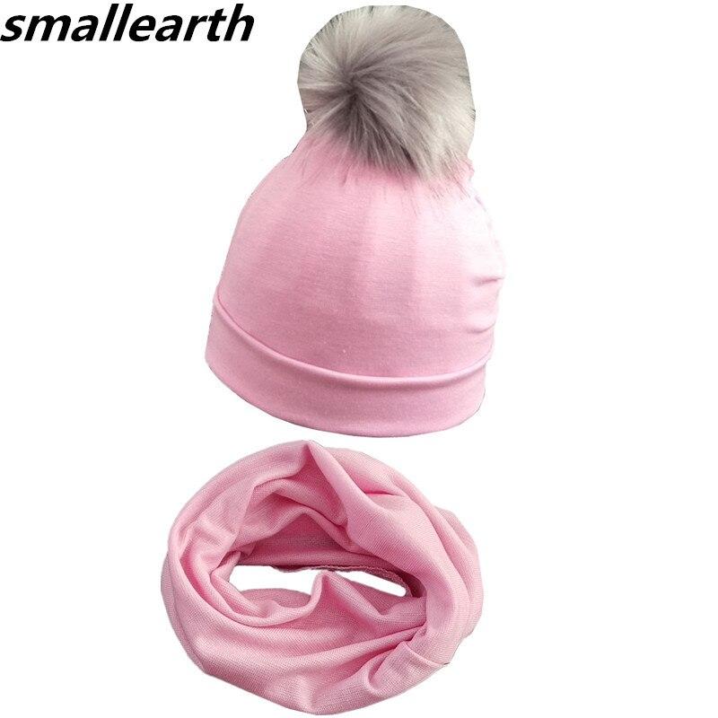 New Spring Autumn Baby Hat Set Boys Girls Neck Scarf Winter Warm Neckerchief Kids Beanies Collar Sets Cotton Children Hats Scarf