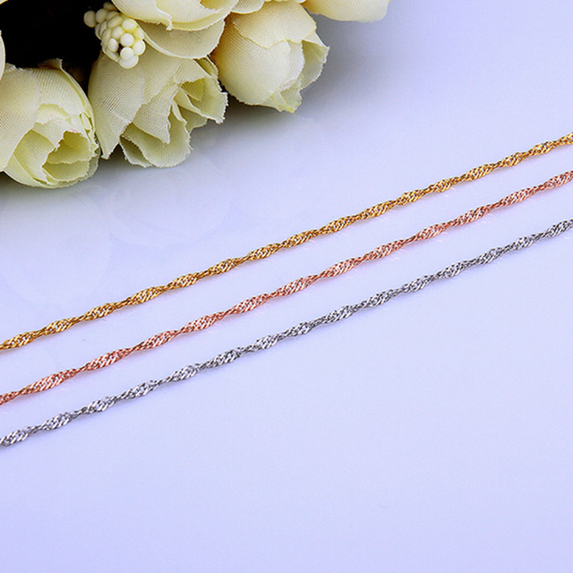 Jewelry Making Twisted Singapore Chain Necklace Rose Gold Yellow