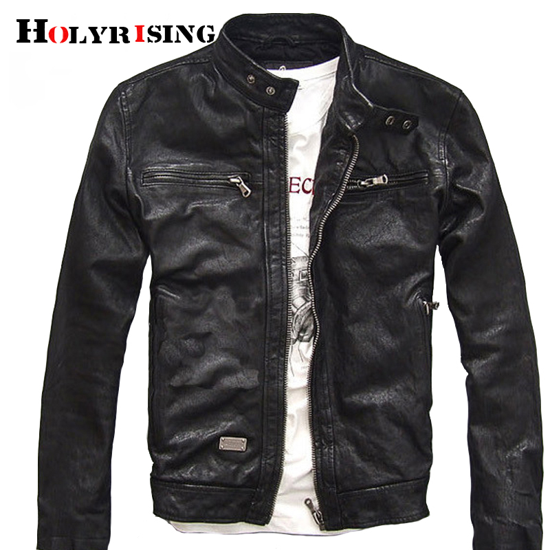 Holyrising Men Genuine Leather Jacket Men Real goatskin leather jacket motorcycle clothing Coat XS-3XL 18907-5(China)