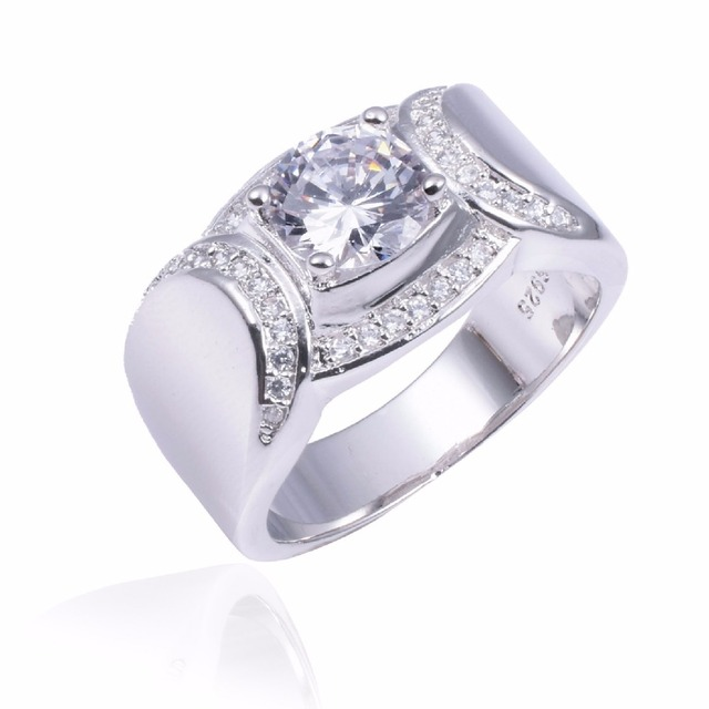 Real Solid 100% 925 Sterling silver Rings Wedding Jewelry for Men Luxury Round cut 2ct Simulated Diamond Ring US Size 8-13