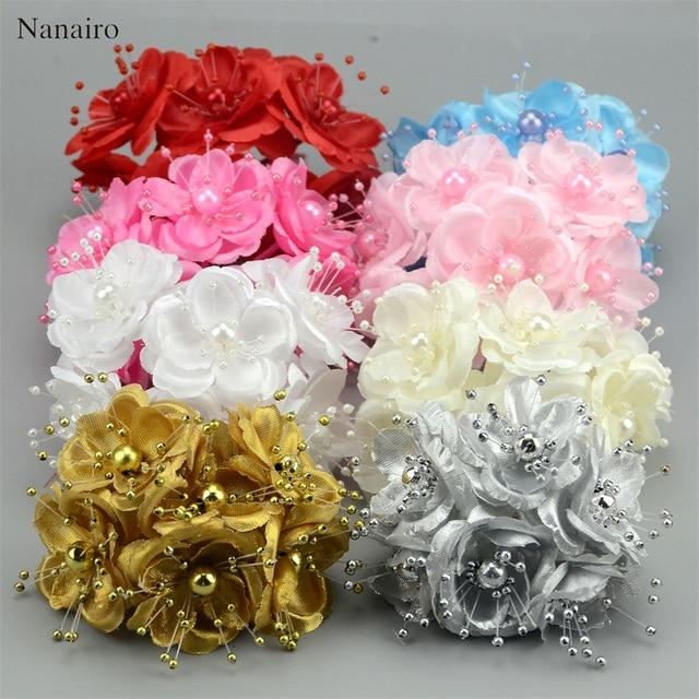 12 pcs Gold Bridal Flower Mini Silk Artificial Rose Flowers Bouquet ...