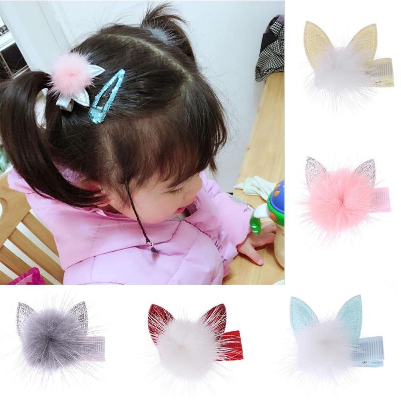 Cute Girls Hairpins Pompom Ear Hair Clips   Headwear   Jewelry Casual Decor