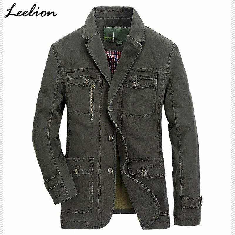 Boutons Leelion Vestes Printemps Casual Coupe Mode 100 De vent Costume green Manteau Armée 2018 Coton Militaire Veste Hommes Khaki Solide qrEr4A