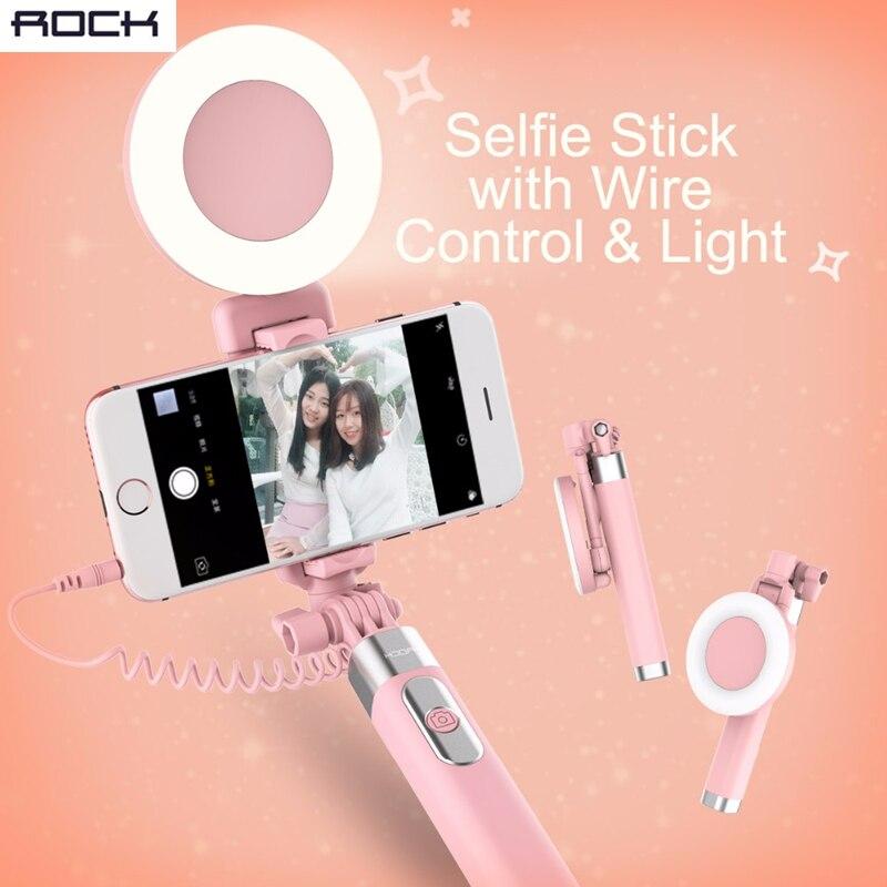 bilder für Rock draht control selbstauslöser stick lcd blitz sucher kamera selfie halter stick für handy einstellbar handheld halter