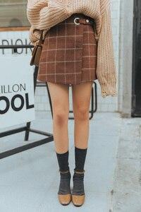 Image 5 - 2020 WomenS Ulzzang Autumn And Winter Harajuku Thickened Woolen Plaid Retro Skirt Female Cute Japanese Kawaii Skirts For Women