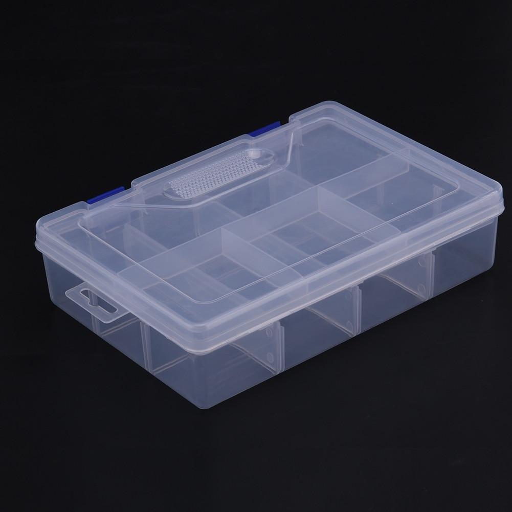 Пластик 8 сетки отсек регулируемые Jewelry Цепочки и ожерелья прозрачная коробка для хранения Чехол держатель Craft Организатор Контейнер для хранения