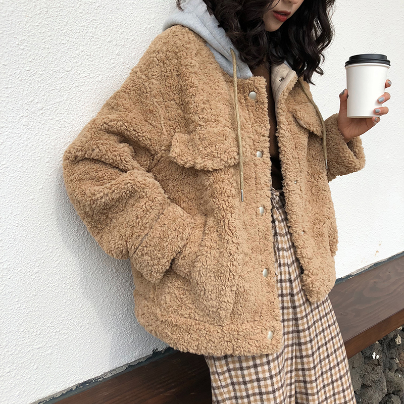 Capuchon Manteaux Bleu De D'hiver À Occasionnels Manches Taille D'agneau Chaud Mode Femmes Vestes Épais kaki Fourrure Longues blanc Large Outerwears POTd5qw