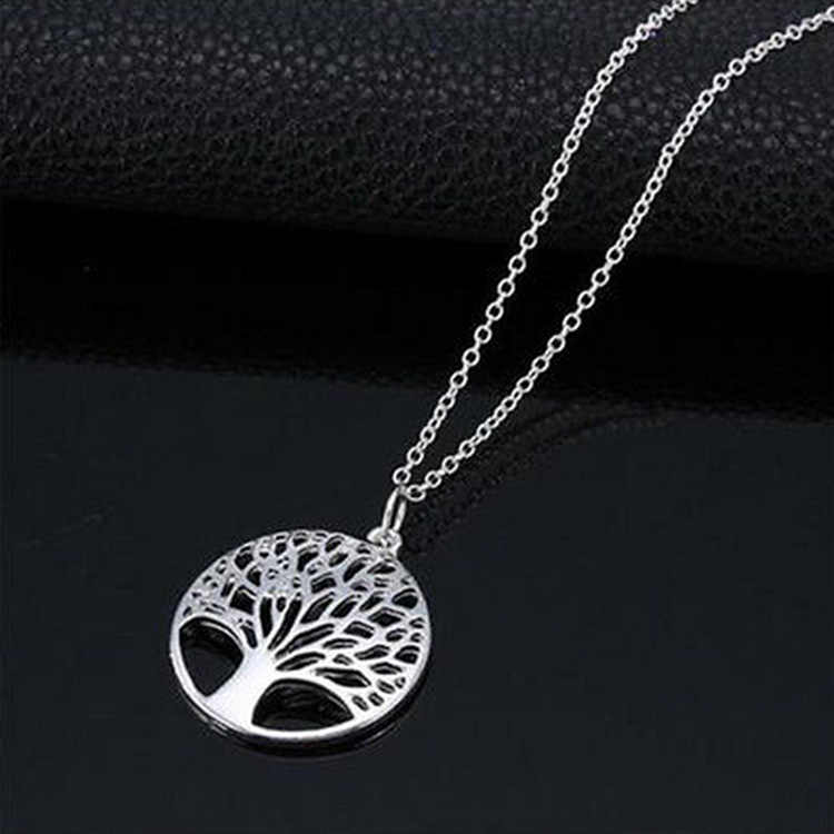 New Design Tree of Life Pendant Necklace Silver Plated Female Charm Necklace Jewelry