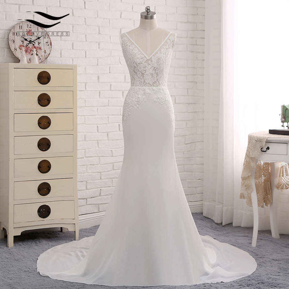 Sexy Chiffon Chapel Train Long Cap Sleeves Wedding Dress Mermaid Real Photos Bridal Gown 2018 SLD-W593 2