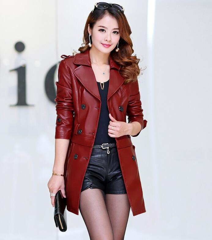 Cheap wholesale 2017 spring autumn winter Hot selling slim medium-long women's sheepskin PU   leather   big plus size Fashion Jacket