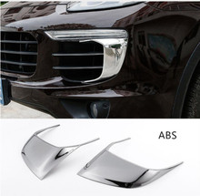 Car Styling 2pcs For Porsche Cayenne 2015-17 Front Headlight Eyebrow Cover Trim Auto Body Fog Lamp Decoration Decals
