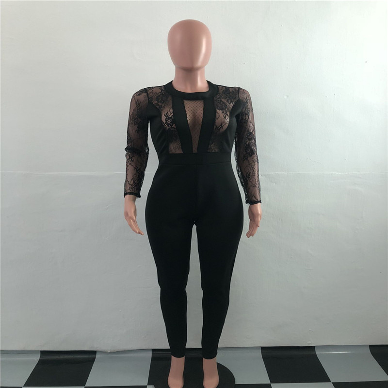 Echoine Nightclub Jumpsuits For Women Black Lace Net Gauze Hollowed Out Zippers Long Sleeve Jumpsuit Patchwork Tight Sexy Romper in Jumpsuits from Women 39 s Clothing