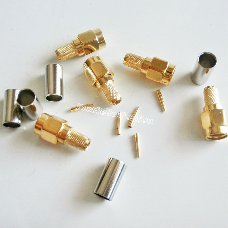 10Pcs SMA Male Plug Crimp RG58 RG142 LMR195 RG400 Cable Straight RF Connector