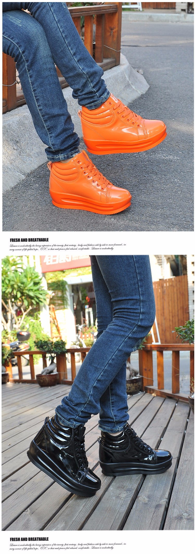 KUYUPP 2016 Fashion Hide Heel Women Casual Shoes Breathable Flat Platform Casual Women Shoes Patent Leather High Top Shoes YD105 (6)