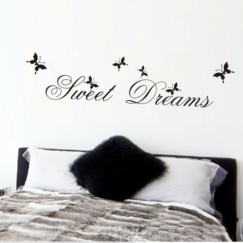 Hot Sell Sweet Dream Quotes Wall Stickers Home Decor Butterfly Living Bedroom Diy Decals Mural