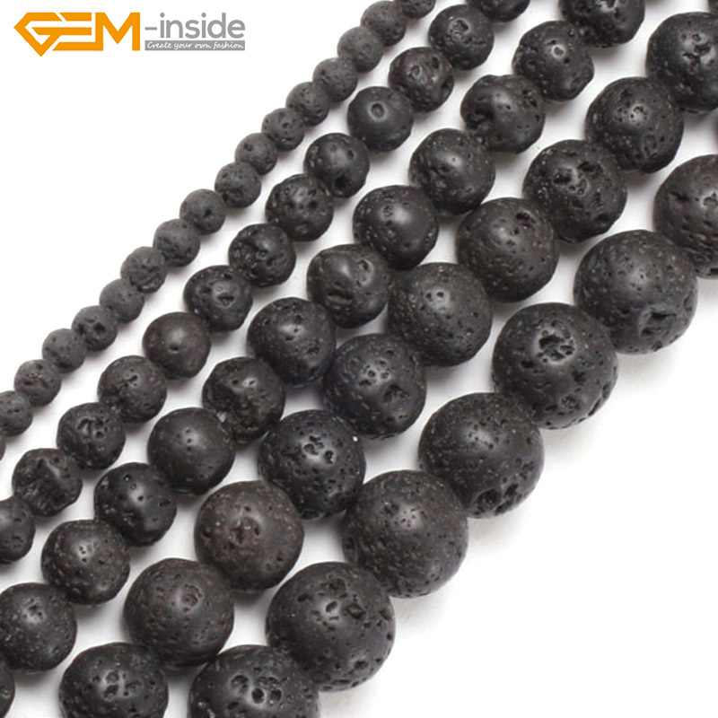 Gem-inside 4-20mm Natural Stone Beads Round Black Lava Rock Beads For Jewelry Making Beads 15'' DIY Beads Trinket Gift