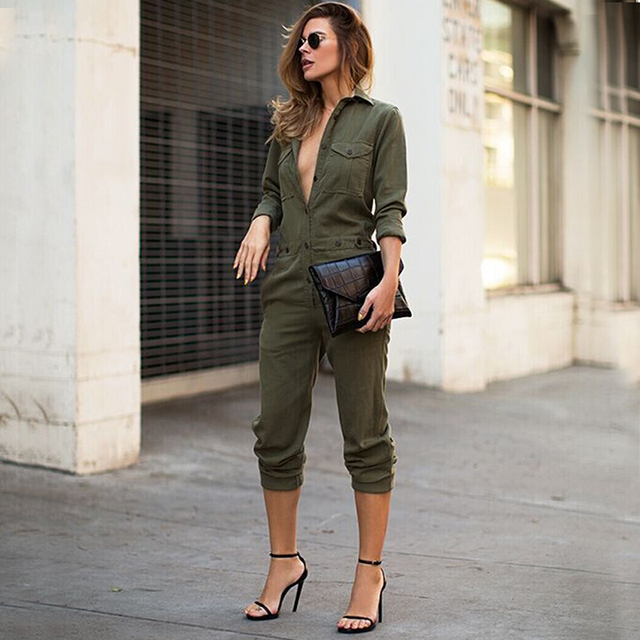 af745219ac34 Hot Women Bandage Bodycon Sexy Clubwear Army Green Romper Moto Biker  Jumpsuit Military Party V Neck Pants