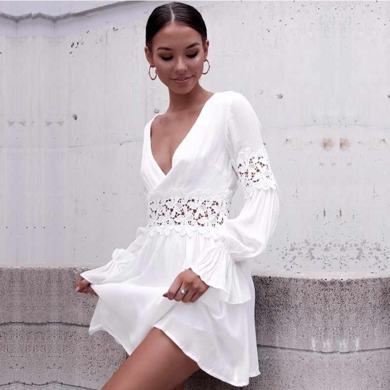 40766e6ed8 ... DeRuiLaDy 2018 Sexy V Neck Lace Floral Hollow Out Mini Dress Autumn  Women Elegant White Beach