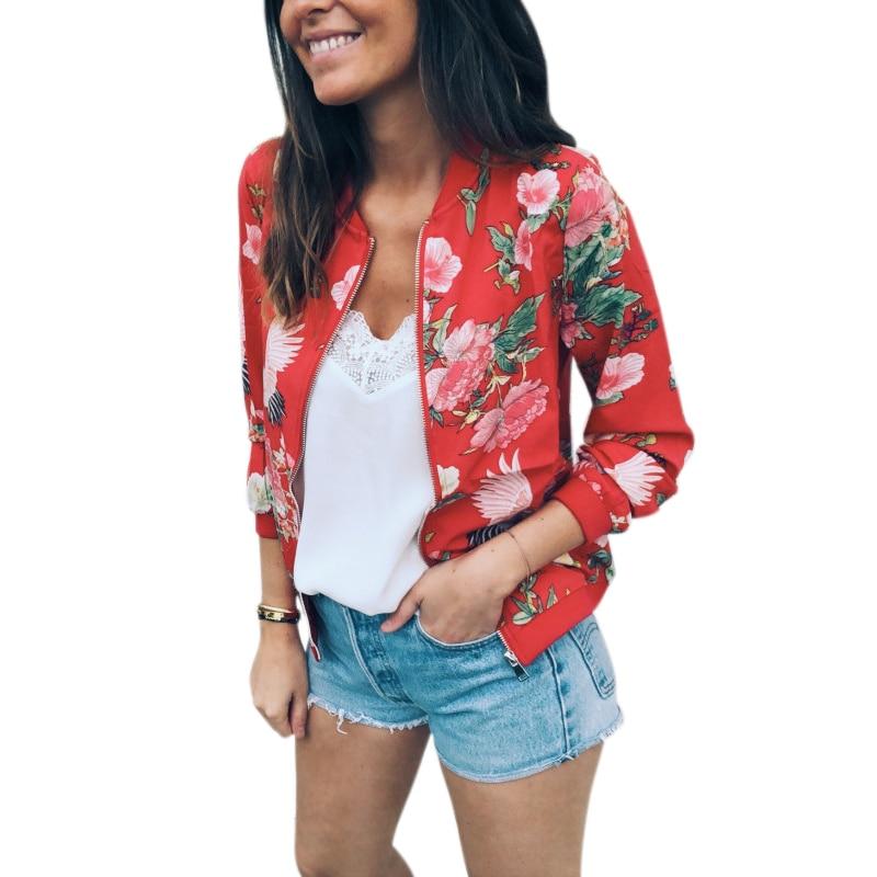 Women Fashion Autumn O Neck Long Sleeve Retro Floral Print Zipper Jackets Outwear Ladies Casual Bomber Jackets Coat Overcoat Top