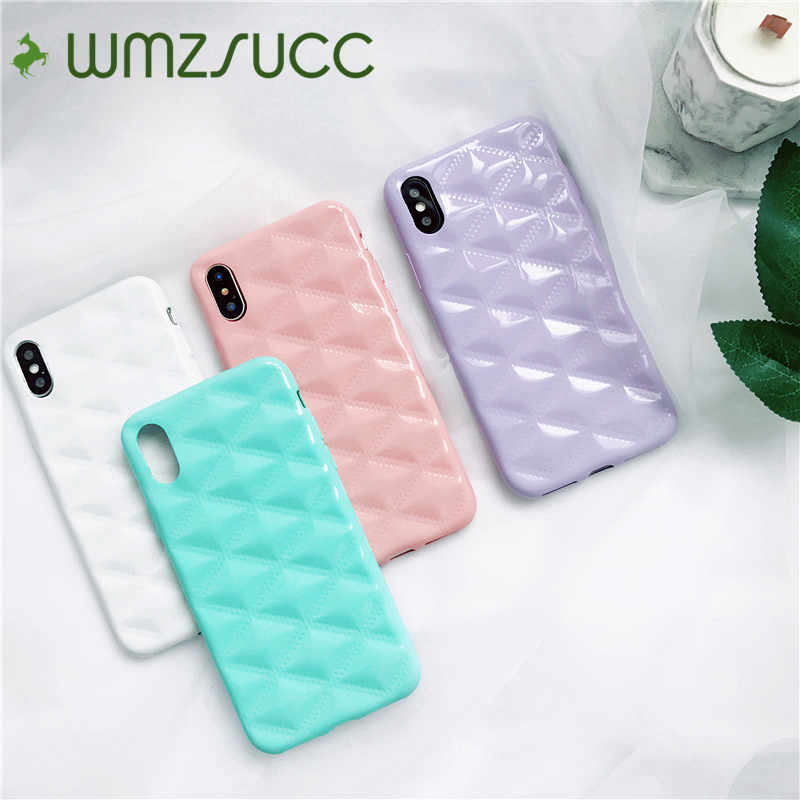 WMZSUCC Candy Color Baby Pink Diamond Grain Soft Phone Case For iPhone X 8 8Plus 7 6S 6 6 Plus Wholesale Drop Shopping