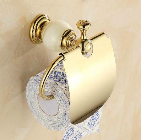 Free Shipping New Arrival Jade & brass gold paper box paper roll holder toilet gold paper holder tissue box Bathroom Accessories free shipping new arrival jade