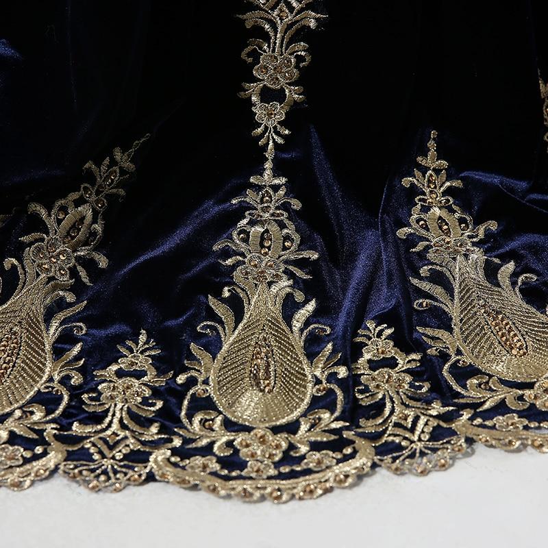 Élégant D'or Perles Robe De Soirée Sirène Marine Velours Bleu - Habillez-vous pour des occasions spéciales - Photo 6