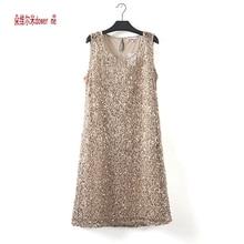 dower me drop shipping plus size stretchable women sequin sleeveless dress casual dresses party evening elegant vestidos de fest