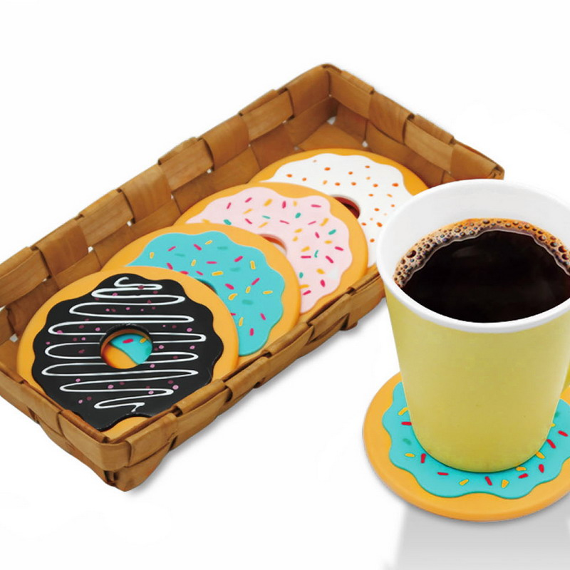 4 Pcs Table Cup Mat Decor Coffee Drink Placemat Tableware Spinning Retro Vinyl Donut Drinks Coasters