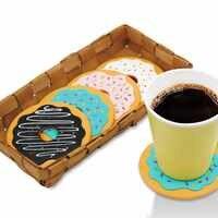 4 Pz Stuoia della Tazza Tavolo Decor Caffè Bevanda Placemat Tavola Spinning Retro Vinyl Ciambella Drinks Coasters