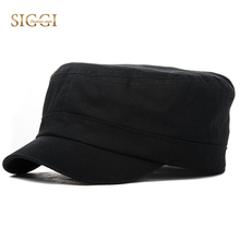 SIGGI Spring Men Military Hat Solid Black Cotton Army Cap Bill Sweatband Breathable Casual Soft Fitted